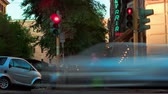 city : Time-lapse of traffic on a busy street corner in Rome, Italy. Panning shot.