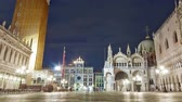 city : Saint Mark Square time-lapse at night. Shot in Venice, Italy. Panning shot. Stock Footage