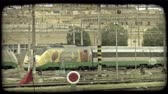 veneza : Shot of a train at a train station in Italy. Vintage stylized video clip. Stock Footage