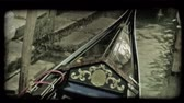 italiano : Shot of a gondola tied to a dock. Vintage stylized video clip.