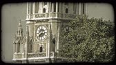 santuário : A tilting shot of a Vienna cathedrals steeple behind some trees. Vintage stylized video clip.