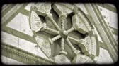 świeca : Shot of a sculpture on the outside of an Italian Cathedral. Vintage stylized video clip. Wideo