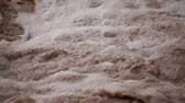 lamacento : Stationary macro view of muddy foamy water in the Colorado River, Moab Utah.