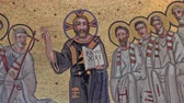 pinturas : Extreme close up of a fresco in the archbasilica of St John Lateran, the Triclinium of Leo III depicting Christ and His apostles. Filmed in Rome, Italy. Stock Footage