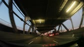 sólido : Moving shot with fish eye lens. Returning to solid land, from a double decker bridge. California