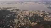 helicóptero : Aerial pan of Rio de Janeiro, Brazil from a helicopter flying above the city.