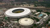 game : Aerial view of Maracanã Stadium - Rio de Janeiro, Brazil. The footage, in high defintion, also captures traffic and surrounding details of the area.