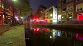 sexo : Timelapse of a Red Light District in Amsterdam at night. Stock Footage
