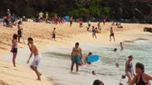 brinquedos : Medium shot of many people and familes visiting a clear beautiful beach in Hawaii
