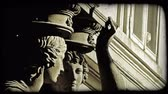 viyana : Close up of a statue of two women. Vintage stylized video clip.