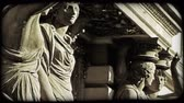viyana : Shot of four statues of women in Vienna. Vintage stylized video clip.