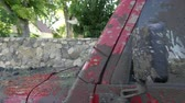автомобиль : Walk around view of Red Jeep covered in mud. Стоковые видеозаписи