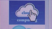 技術 : Macro Shot of Cursor Hand Pointing to CLoud Computing Icon and Clicking on It 影像素材