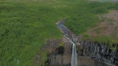 svartifoss : Icelandic river falls from the cliff of the mountain. Andreev. Stock Footage
