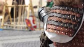 knight : Stand up knight with protective leather gloves and armor. Stock Footage