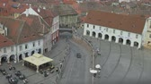 mica : Sibiu Liars Bridge top view. In Sibiu you can find Romanias oldest cast-iron bridge. The Liegende Brücke(Lying bridge) had been installed in place of a wood bridge in 1859. The wood, Liars Bridge go its name from the stories and tall talk of the nearby  Stock Footage