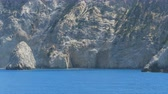 golden : Beautiful Azure Ionian Sea shore cliffs.