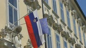 View of Slovenia and European Union flags on building. Stock Footage