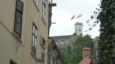 View between buildings of the Ljubljana castle. Stock Footage