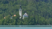 View of the Assumption of Mary Church in Lake Bled, Slovenia.