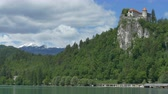 beautiful view of lake and Castle Bled, in Slovenia. Stock Footage