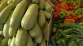 View of fresh organic vegetables on table at local market.