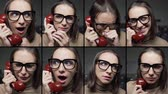 Different expressions of woman on the phone: happy, sad, shocked, scared and bored, video montage