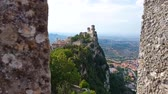 emilia : Ancient and medieval wall of italian castle. Historical wonderful site Stock Footage