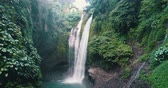 serin : Aerial drone view of beautiful Aling Aling waterfall in nothern Bali, Indonesia