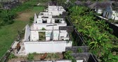 ruiny : Aerial drone view of abandoned houses on tropical island of Bali, Indonesia