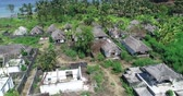 falência : Aerial drone view of abandoned houses on tropical island of Bali, Indonesia