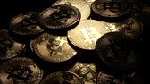 carteira : Macro closeup of crypto currency Bitcoin spinning coins