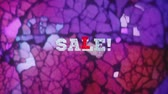 rebate : SALE! - text animation over vintage broken glass background Stock Footage