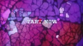 leilão : START NOW!- text animation over vintage broken glass background