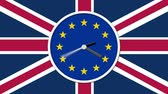 pénzügyi : Animated clock face counting down. Brexit UK EU referendum concept with flags and clock Stock mozgókép