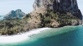 calcário : Aerial drone view of beautiful tropical Poda Island in Thailand