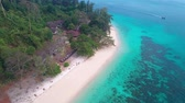 Aerial drone view of beautiful tropical Koh Kradan paradise island in Thailand Archivo de Video