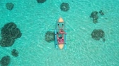antena : Aerial drone view of couple with dog in kayak over amazing crystal clear sea water