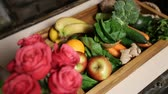 colorful : Top view of fresh fruits and vegetable in tray