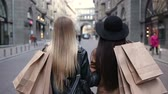 shopping bag sale : Back view of two walking women with shopping bags