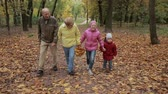 relaxation : Elderly couple and grandchildren together in autumn