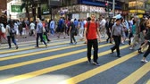 district : Diverse peple crossing the city street on zebra Stock Footage