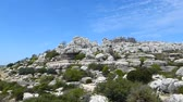 Panorama view over famous Torcal de Antequera close to coast of Malaga in Spain, part of Dolmen Antequera