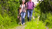 outdoors : Happy senior couple hiking with dog in summer (Full HD)