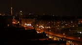 Berlin night time lapse shot with many cars driving in traffic (Full HD)