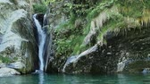 Val Grande National Park landscape with waterfall in rock and water stream Stock Footage