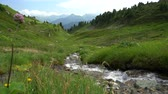 River with water stream in the mountains valley landscape (4) Stock Footage