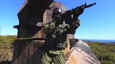 soldado : Soldier aiming with his submachine gun. Soldier on duty