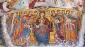 Zooming in on the ancient religious paintings at the interior walls of famous Sumela Monastery in Trabzon Turkey