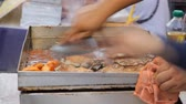 flank : Cooking steak on side road market. Thailand Street Food. Stock Footage